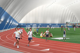 track & field inside a dome
